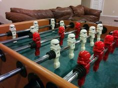 """Someone has decided to merge the worlds of Star Wars and foosball together. The result is a bit of printed awesome. Youmagine designer """"excite"""" decided to transform his foosball table by prin… 3d Printing Business, 3d Printing Diy, Modele Impression 3d, Le Kraken, Table Football, 3d Cnc, The Force Is Strong, 3d Prints, Easy Projects"""