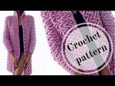 Вязание / Объёмный узор крючком для кардигана / МК / узор №16. - YouTube Loom Crochet, Crochet Coat, Crochet Cardigan Pattern, Crochet Jacket, Crochet Clothes, Crochet Stitches, Knitting Videos, Crochet Videos, Loom Knitting