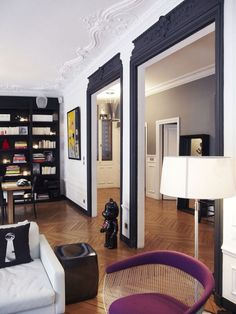 black doors white walls - black doors interior - black doors - black doors white trim - black doors exterior front entry - black doors interior white trim - black doors interior before and after - black doors and trim - black doors white walls Decor, Interior, Dream Decor, Home, Interior Architecture, Interior Spaces, House Interior, Home Deco, White Walls