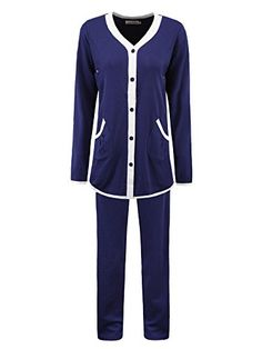 Womens Maternity 2 Piece Elegant Long Sleeve Nursing Loungewear Pajamas Set M Dark Blue