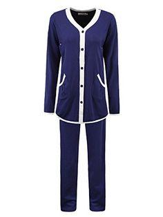 Womens Maternity 2 Piece Elegant Long Sleeve Nursing Loungewear Pajamas Set M Dark Blue