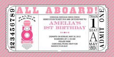 Pink Train Birthday Party   ... this and many other great party invitations at Dimpleprints on Etsy