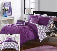 Chic Home 7 Piece Heathville Pinch Pleated Chevron Print REVERSIBLE,Twin X-Long Bed In a Bag Comforter Set