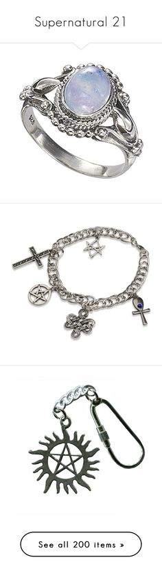 """Supernatural 21"" by sarahslaughter ❤ liked on Polyvore featuring jewelry, rings, gothic rings, celtic rings, fancy rings, gothic pendants, fancy jewelry, bracelets, accessories and charm bracelet"