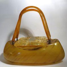 Vintage Lucite Purse Llewellyn Butterscotch Carved Bag Handbag