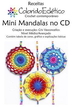 Pin on Mandala Crochet Wall Art, Crochet Home, Love Crochet, Crochet Mandala Pattern, Crochet Motifs, Crochet Patterns, Crochet Stitches, Cd Crafts, Yarn Crafts
