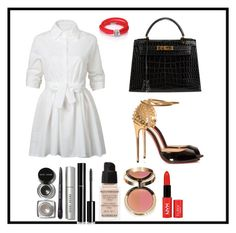 """Untitled #198"" by raghoood ❤ liked on Polyvore featuring WithChic, Christian Louboutin, Hermès, de Grisogono, Givenchy, Chanel and Bobbi Brown Cosmetics"