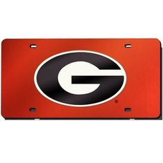 Georgia Bulldogs Red Mirror License Plate Laser Tag