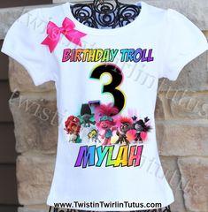 Trolls World Tour Birthday Shirt 3rd Birthday Parties, Girl Birthday, Birthday Stuff, Birthday Ideas, Trolls Birthday Favors, Snow White Birthday, Troll Party, Customized Girl, Vinyl Shirts
