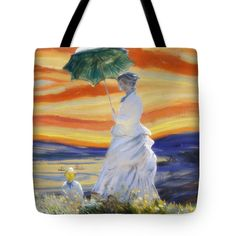 "Ms Monet and Red Skies Tote Bag by #spoofingTheArts  (18"" x 18"").  The tote bag is machine washable, available in three different sizes, and includes a black strap for easy carrying on your shoulder.   #FineArtAmerica #Gravityx9"