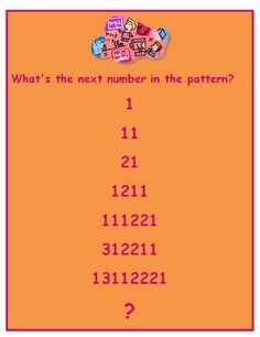 Free math riddle poster for middle school!  Start with one. There's one 1, there's two ones...