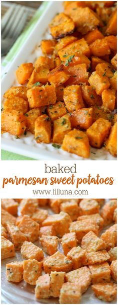 Parmesan Sweet Potatoes Baked Parmesan Sweet Potatoes - my new favorite side dish recipe. Takes minutes to make and tastes AMAZING!Baked Parmesan Sweet Potatoes - my new favorite side dish recipe. Takes minutes to make and tastes AMAZING! Roasted Sweet Potato Cubes, Recipes For Sweet Potatoes, Baked Sweet Potatoes, Sweet Potato Side Dish, Sweet Potato Dinner, Cooking Sweet Potatoes, Cooking Bacon, Baking Sweet Potato, Cubed Sweet Potato Recipe