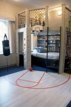 Splendid Basketball room for Shayan! The post Basketball room for Shayan! appeared first on Decor Designs . Awesome Bedrooms, Cool Rooms, Cool Bedrooms For Boys, Cool Beds For Boys, Coolest Bedrooms, Childrens Bedrooms Boys, Ideas Decorar Habitacion, Creative Kids Rooms, Kids Bedroom Furniture
