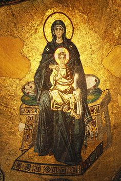 """Buy the royalty-free Editorial image """"Ancient mosaic in Hagia Sophia mosque, Istanbul"""" online ✓ All image rights included ✓ High resolution picture for . Byzantine Icons, Byzantine Art, Byzantine Architecture, Art And Architecture, Religious Icons, Religious Art, Hagia Sophia Istanbul, Immaculée Conception, Madonna And Child"""