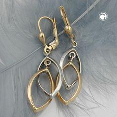 Brisur, 2 Ovale, bicolor, 9Kt GOLD  beide Ovale frei ineinander hängend, oberes Oval rhodiniert