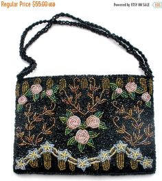 Sale Christiana Purse Hand Beaded Black by TheJewelryLadysStore