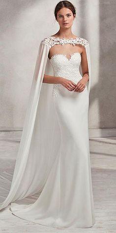 Fashionable Chiffon & Lace Sweetheart Neckline Mermaid Wedding Dress With Detachable Long Shawl #weddinggowns