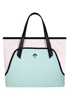 GOSHICO, ss2015, Flowerbag (shoulder travel bag), pastel mint + pastel pink. To download high or low resolution product iages view Mondrianista.com (editorial use only).