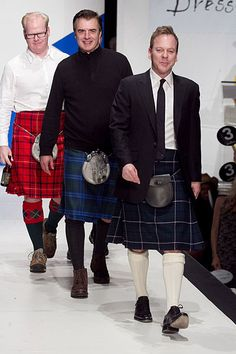 Three of my favorite actors. Tartan Fabric, Tartan Plaid, Men In Kilts, Haberdashery, Traditional Dresses, Ireland, Handsome, Celebs, Entertainment