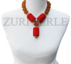Zuri Perle - ZPO303 - Orange Coral Beads African Wedding Statement Necklace Set, $200.00 (http://www.zuriperle.com/women/zpo303-orange-coral-beads-african-wedding-statement-necklace-set.html/)