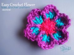 Easy Crochet Flower – Free Crochet Pattern – Review ༺✿ƬⱤღ  http://www.pinterest.com/teretegui/✿༻