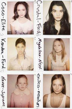 Model casting Polaroids for (show?). (⬆️&⬇️) - Coco Rocha, Kendra Spears & Hanne Gaby Odiele. Crystal Renn, Magdalena Frackowiak & Eniko Mihalik