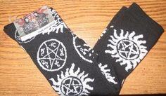 12.20$  Watch here - http://vikam.justgood.pw/vig/item.php?t=ggyj0f1641 - New CW Supernatural Anti-Possession Logo Symbols Knee High Socks One pair FS 12.20$