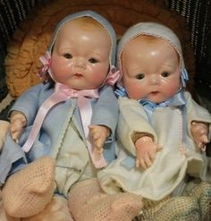 Two 1924 Horsman Vintage, Antique, Old Compostion, Cloth Twin Baby Dolls Doll Toys, Baby Dolls, Play Doll, Plush Craft, Old Dolls, Bear Toy, Twin Babies, Dollhouse Dolls, Collector Dolls