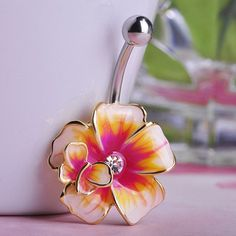 Flower Belly Button Ring (Piercing) Fine or Fashion: Fashion Item Type: Body Jewelry Style: Trendy Body Jewelry Type: Navel & Bell Button Rings Material: Crystal Metals Type: Stainless Steel Shape\pat