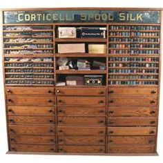 Corticelli Spool Silk Huge Oak Spool Cabinet w/ Product - Victorian Casino Antique Auction