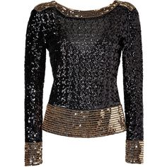 BY MALENE BIRGER Black/Gold Allover Sequined V-Back Top (1605 QAR) ❤ liked on Polyvore featuring tops, blouses, sweaters, shirts, blusas, long sleeve sequin top, long sleeve shirts, fitted shirt, gold blouse and long sleeve sequin shirt