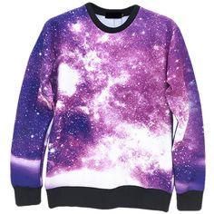Purple Trendy Womens Crew Neck Jumper Galaxy Printed Sweatshirt ($26) ❤ liked on Polyvore featuring tops, hoodies, sweatshirts, purple, galaxy print top, galaxy top, sweat tops, sweat shirts and pink crewneck sweatshirt