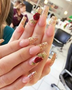 Looking for easy nail art ideas for short nails? Look no further here are are quick and easy nail art ideas for short nails. 3d Nail Designs, Acrylic Nail Designs, Nails Design, Rose Nail Design, Hair And Nails, My Nails, Bling Nails, Rose Nails, Rose Nail Art