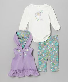 This cuddly set keeps little kittens in comfort from top to bottom. With a mixture of prints and appliqués, each item is decked out in precious charm. A zipper on the hooded vest, snaps on the bodysuit and an elastic waistband on the pants make dressing fuss-free too.