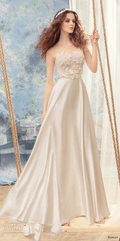 papilio 2017 bridal sleeveless bateau neckline heavily embellished bodice satin skirt romantic modiified a line wedding dress sweep train (skylark) mv -- Papilio 2017 Wedding Dresses