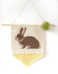 Easter Decoration Rabbit Wall Art Crochet Pattern Bunny