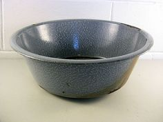"Vintage Gray Graniteware Tub Basin Pan Large Round Distressed Rusted Dinged16"" by EclectiquesBoutique"