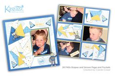 This project will show you how to create a fun boys page and pockets layout using the Little Wisdom SB Paper collection. Scrapbooking Layouts, Scrapbook Pages, Creative Memories, Finding Yourself, Workshop, Paper Crafts, Shapes, Pockets, Arrows