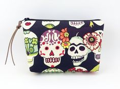 Skull Cosmetic Bag Small Zipper Pouch Gadget Case by ZestyNotion