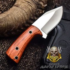 ALONZO KNIVES USA CUSTOM HANDMADE TACTICAL SKINNER 1095 KNIFE PAKKA WOOD 3166 #AlonzoKnives