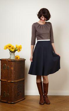 """Knielange Kleider - 3-farbiges Kleid """"Luzia"""" mit Tellerrock - ein Designerstück von Jekyll-und-Kleid bei DaWanda"""