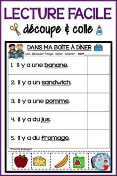 Perfect for French Immersion, grade primary, one or two! 50 CUT AND PASTE pages to review French sight words as well as French vocabulary for everyday activities or the 4 seasons. NO PREP so perfect for French reading  center, for morning work, early finishers, homework or to leave for a French supply teacher.