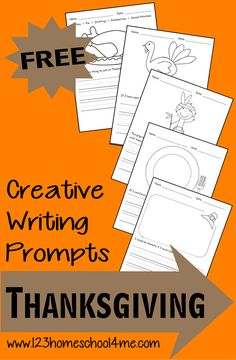 FREE Printable Creative Writing Prompts - Thanksgiving #homeschool #preschool #writing