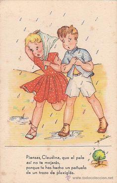 Vintage Spanish postcard (POSTAL INFANTIL ILUSTRADA SERIE 44)- further details unknown