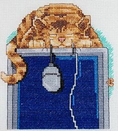 The Mouser Janlynn Counted Cross Stitch Kit Cat on Computer Designed by Gary Patterson New in Package Cross Stitch Designs, Cross Stitch Patterns, Cat Template, Gatos Cats, Cross Stitch Pictures, Cross Stitch Fabric, Cat Decor, Cross Stitch Animals, Needlepoint Kits