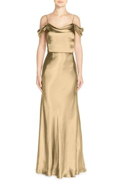 Jenny Yoo 'Sabine' Draped Pleat Neck Chameuse Gown