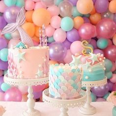 This Mermaid Theme Party Ideas got me all inspired already! If you are looking at a theme for your little girl birthday - THIS IS IT First Birthday Parties, Girl Birthday, First Birthdays, First Birthday Girl Mermaid, Baby Shower Mermaid Theme, Best Birthday Cake, Birthday Ideas For Kids, Party Ideas For Kids, Mermaid Party Food