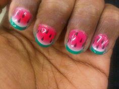 Mindy Kaling's watermelon fingernails. #mindy #kaling #watermelon #nails