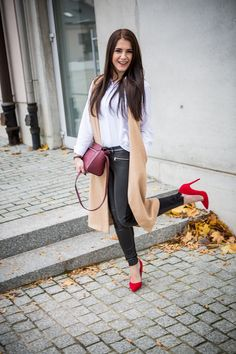www.streetstylecity.blogspot.com  Fashion inspired by the people in the street ootd look outfit sexy high heels legs woman girl leather pants trousers red pumps