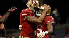 Colin Kaepernick and Michael Crabtree celebrating one of Crabtree's two TD catches on the night. NFC Divisional Jan 12th 2013.